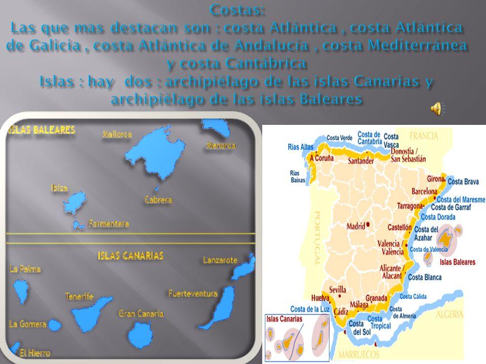 Costas: Las que mas destacan son : costa Atlántica , costa Atlántica de Galicia , costa Atlántica de Andalucía , costa Mediterránea y costa Cantábrica Islas : hay dos : archipiélago de las islas Canarias y archipiélago de las islas Baleares