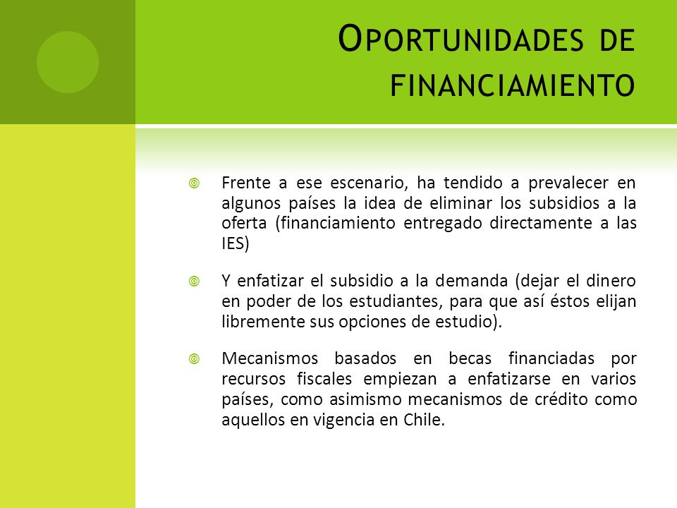 Oportunidades de financiamiento