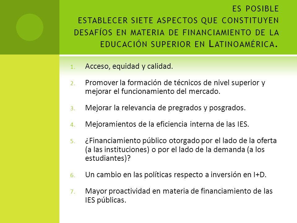 es posible establecer siete aspectos que constituyen desafíos en materia de financiamiento de la educación superior en Latinoamérica.