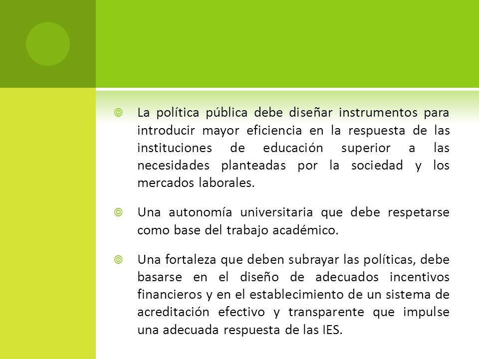 La política pública debe diseñar instrumentos para introducir mayor eficiencia en la respuesta de las instituciones de educación superior a las necesidades planteadas por la sociedad y los mercados laborales.