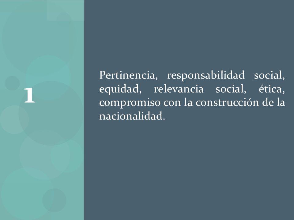 Pertinencia, responsabilidad social, equidad, relevancia social, ética, compromiso con la construcción de la nacionalidad.