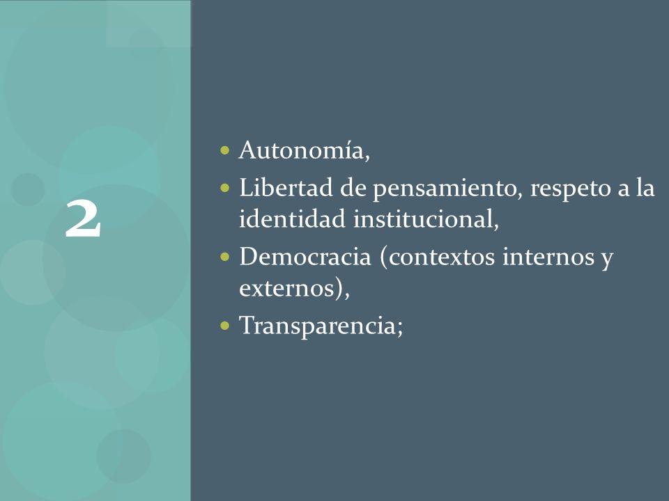 Autonomía, Libertad de pensamiento, respeto a la identidad institucional, Democracia (contextos internos y externos),