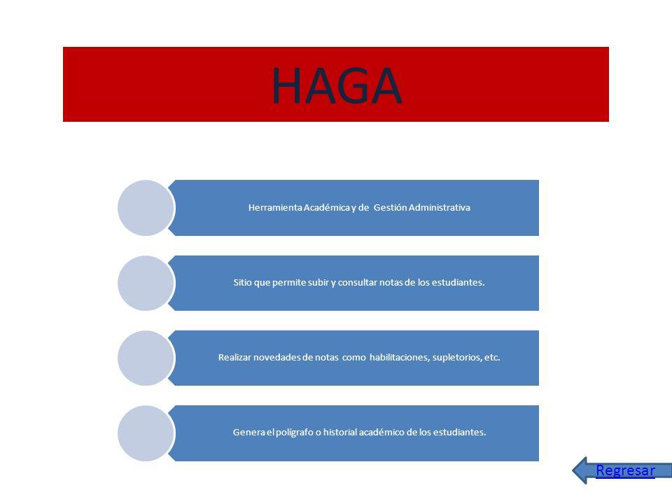 HAGA Regresar Herramienta Académica y de Gestión Administrativa