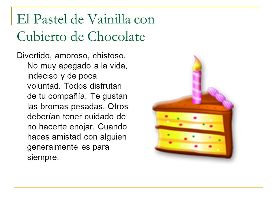 El Pastel de Vainilla con Cubierto de Chocolate