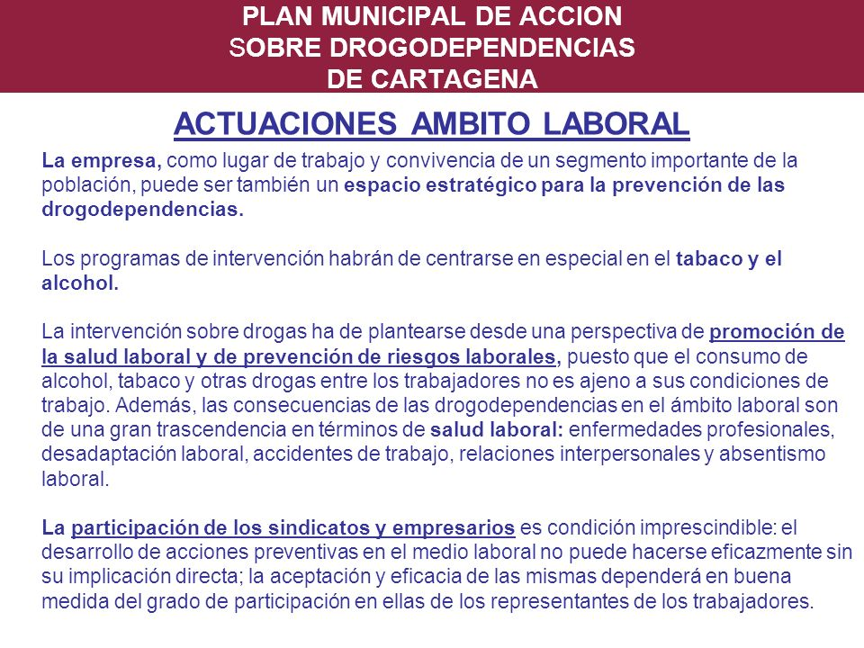 PLAN MUNICIPAL DE ACCION SOBRE DROGODEPENDENCIAS DE CARTAGENA