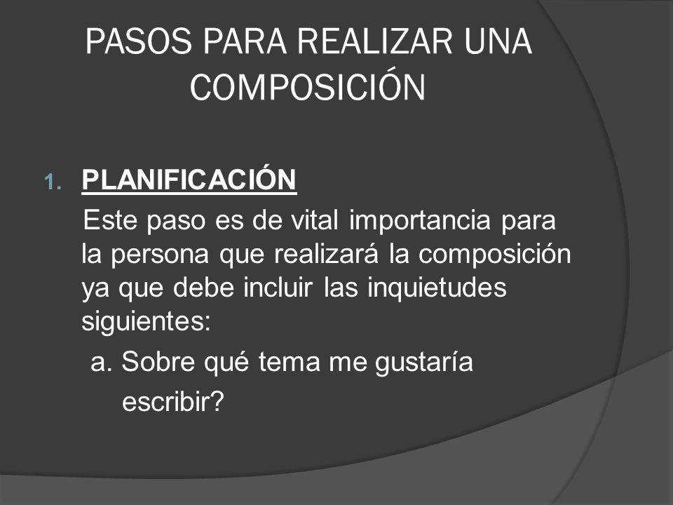 PASOS PARA REALIZAR UNA COMPOSICIÓN