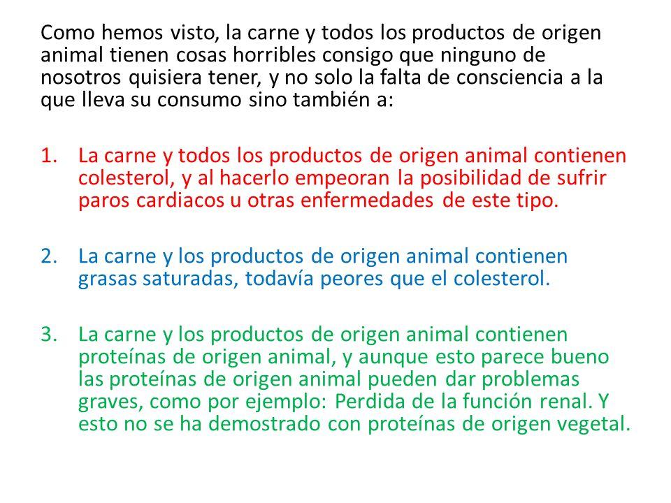 Como hemos visto, la carne y todos los productos de origen animal tienen cosas horribles consigo que ninguno de nosotros quisiera tener, y no solo la falta de consciencia a la que lleva su consumo sino también a: