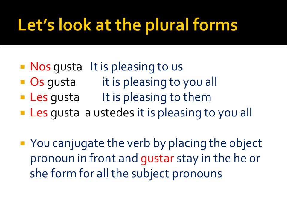 Let's look at the plural forms