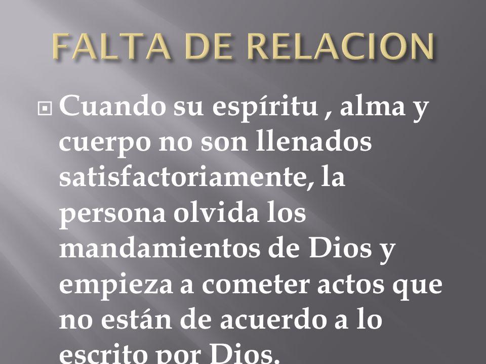 FALTA DE RELACION
