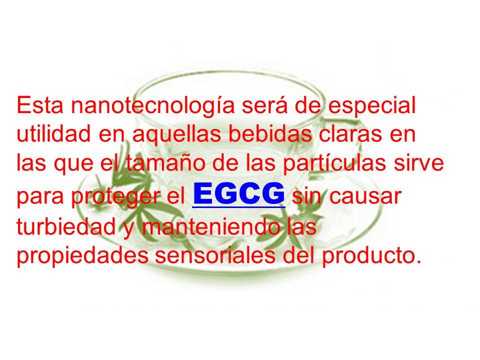 Esta nanotecnología será de especial utilidad en aquellas bebidas claras en las que el tamaño de las partículas sirve para proteger el EGCG sin causar turbiedad y manteniendo las propiedades sensoriales del producto.