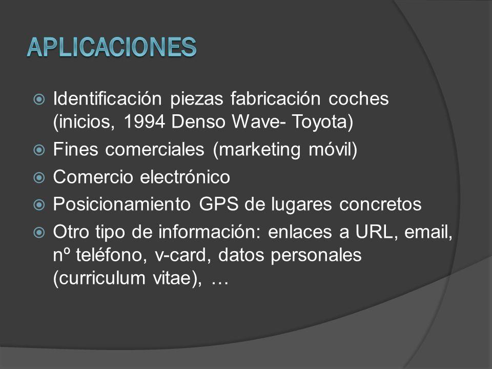 Aplicaciones Identificación piezas fabricación coches (inicios, 1994 Denso Wave- Toyota) Fines comerciales (marketing móvil)