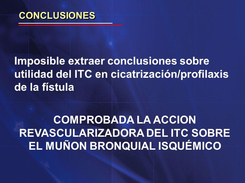 CONCLUSIONES Imposible extraer conclusiones sobre utilidad del ITC en cicatrización/profilaxis de la fístula.
