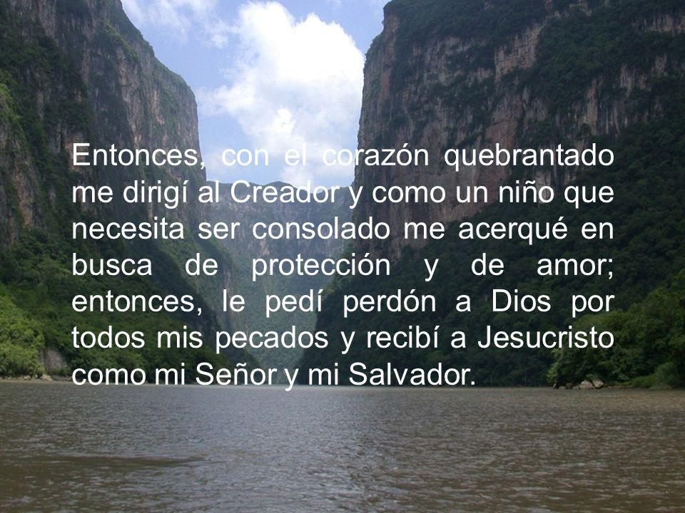 Entonces, con el corazón quebrantado me dirigí al Creador y como un niño que necesita ser consolado me acerqué en busca de protección y de amor; entonces, le pedí perdón a Dios por todos mis pecados y recibí a Jesucristo como mi Señor y mi Salvador.