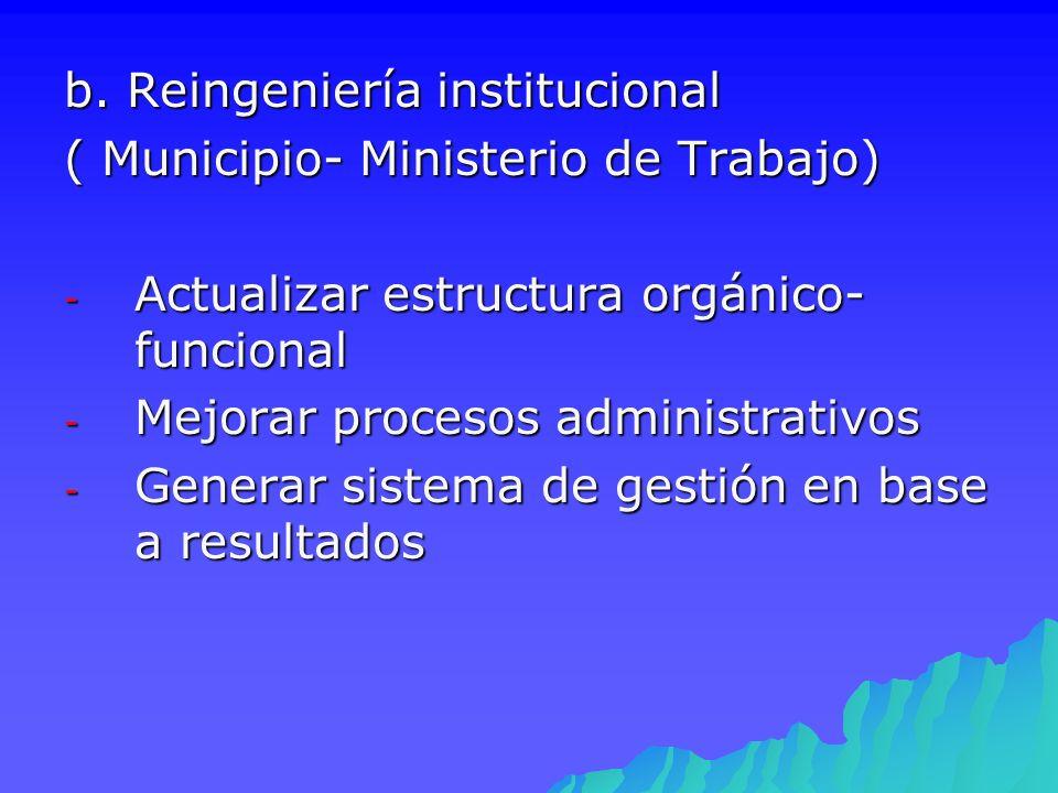 b. Reingeniería institucional