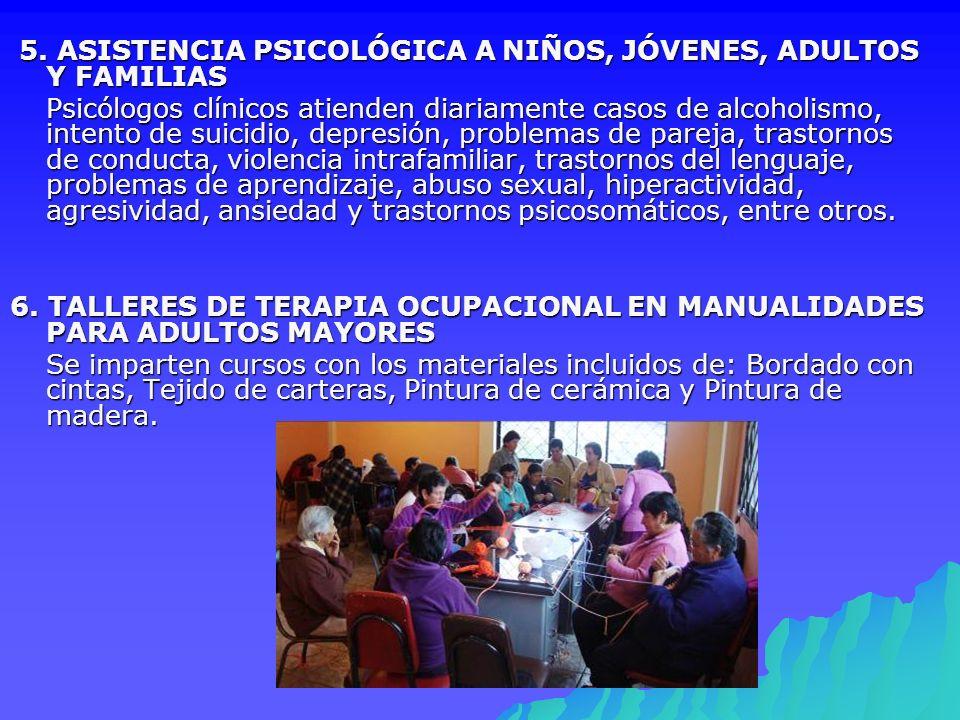 5. ASISTENCIA PSICOLÓGICA A NIÑOS, JÓVENES, ADULTOS Y FAMILIAS