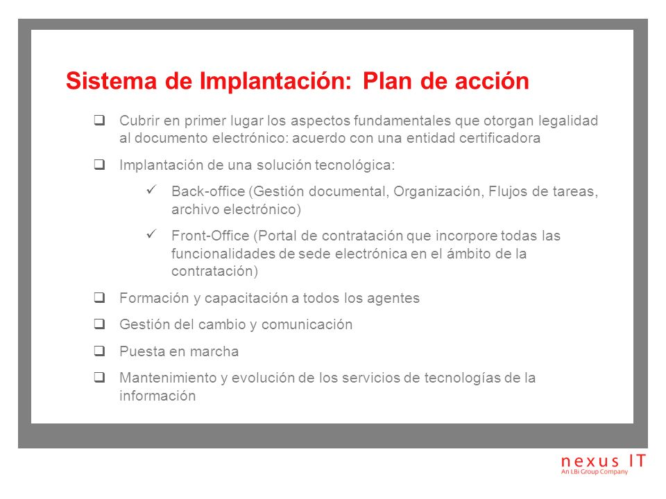 Sistema de Implantación: Plan de acción
