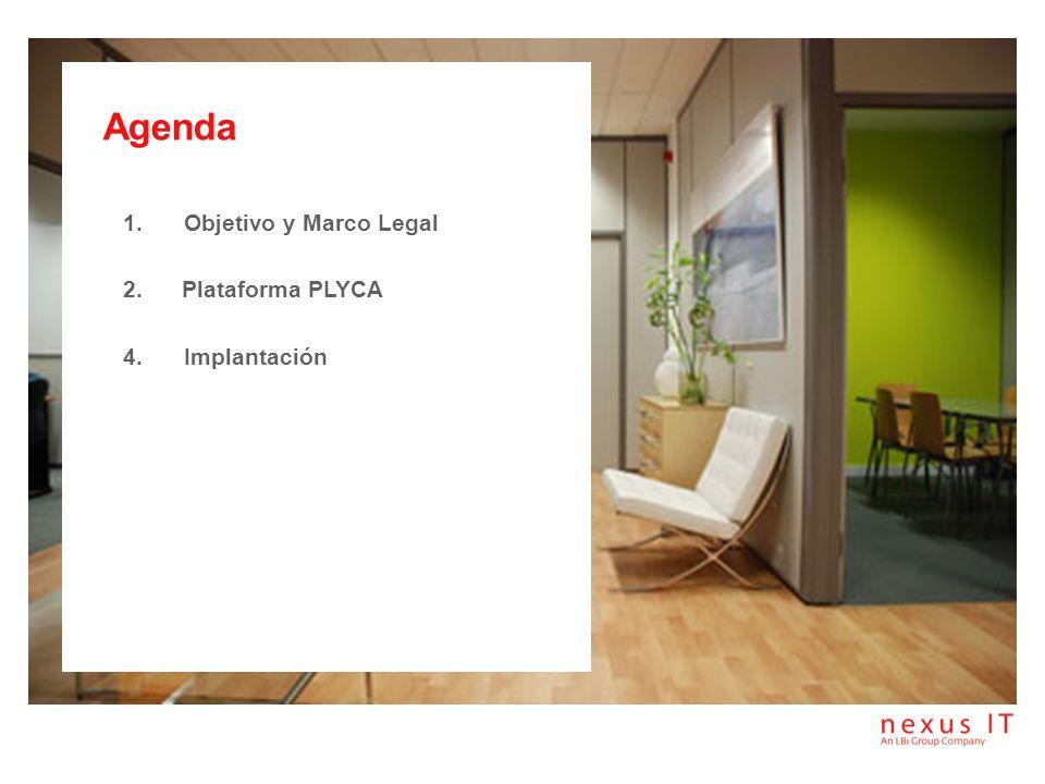 Agenda Objetivo y Marco Legal 2. Plataforma PLYCA Implantación