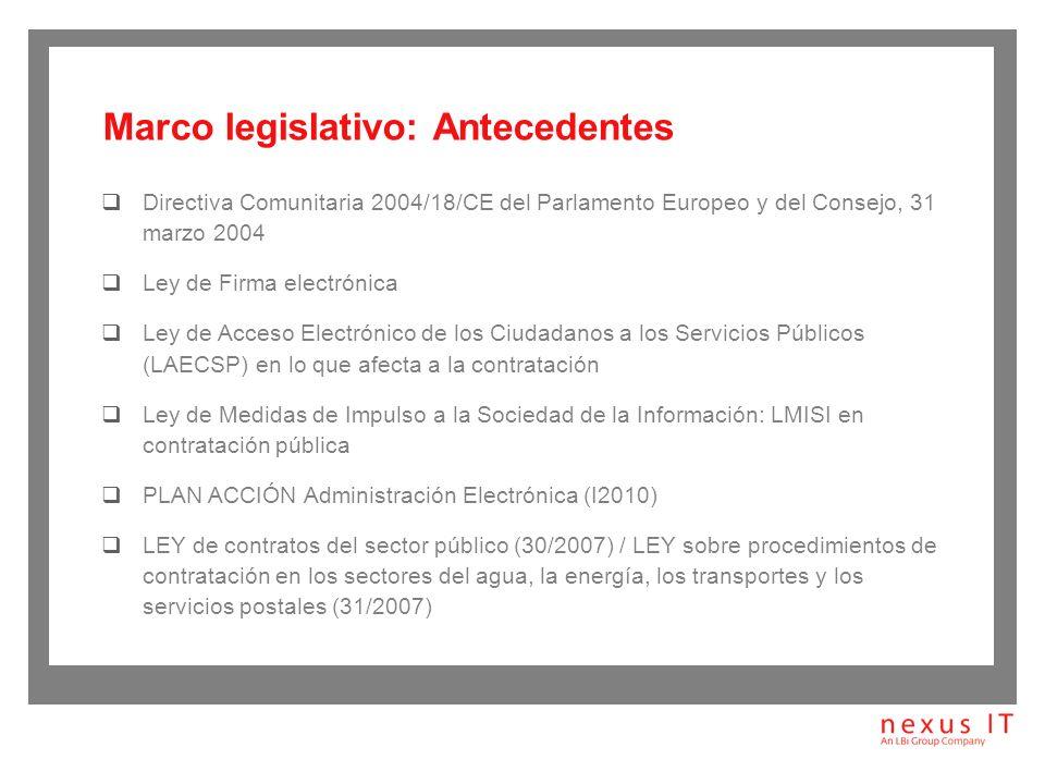 Marco legislativo: Antecedentes