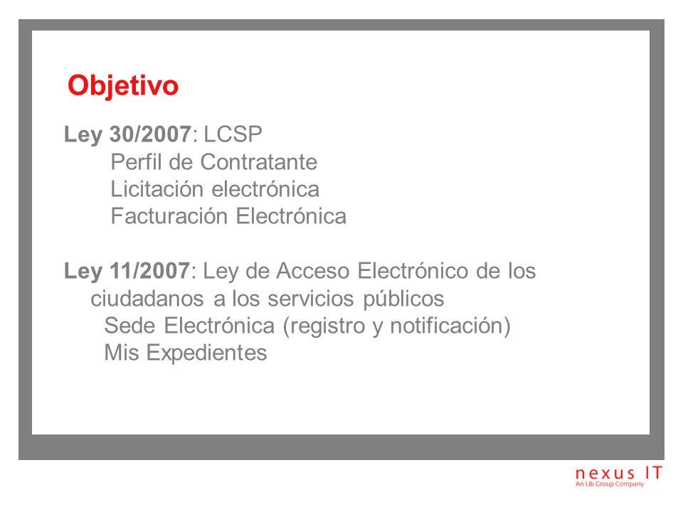 Objetivo Ley 30/2007: LCSP Perfil de Contratante