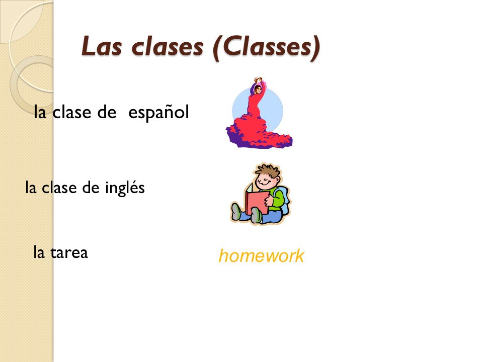 Las clases (Classes) la clase de español la tarea homework