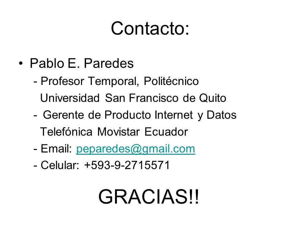 GRACIAS!! Contacto: Pablo E. Paredes - Profesor Temporal, Politécnico
