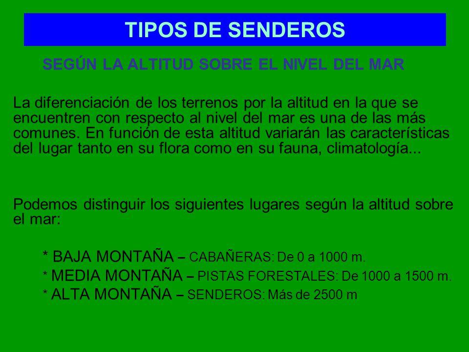 TIPOS DE SENDEROS SEGÚN LA ALTITUD SOBRE EL NIVEL DEL MAR