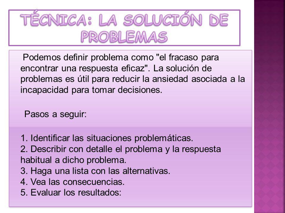 TÉCNICA: La solución de problemas
