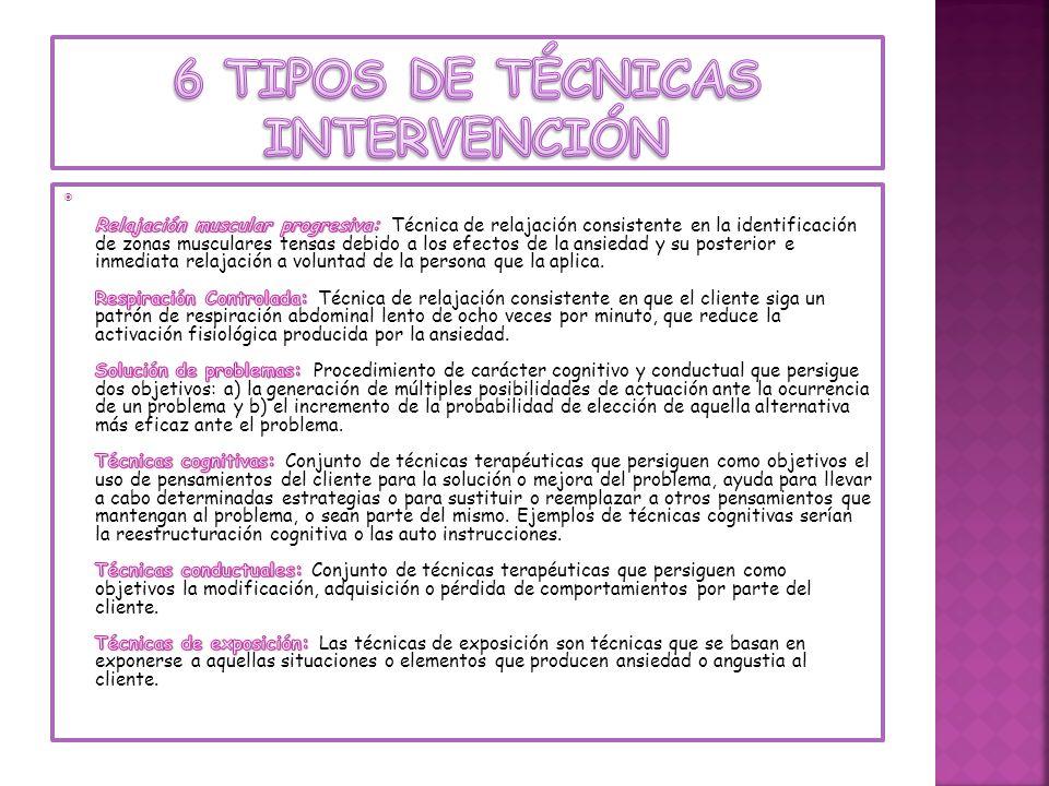 6 tipos de técnicas intervención