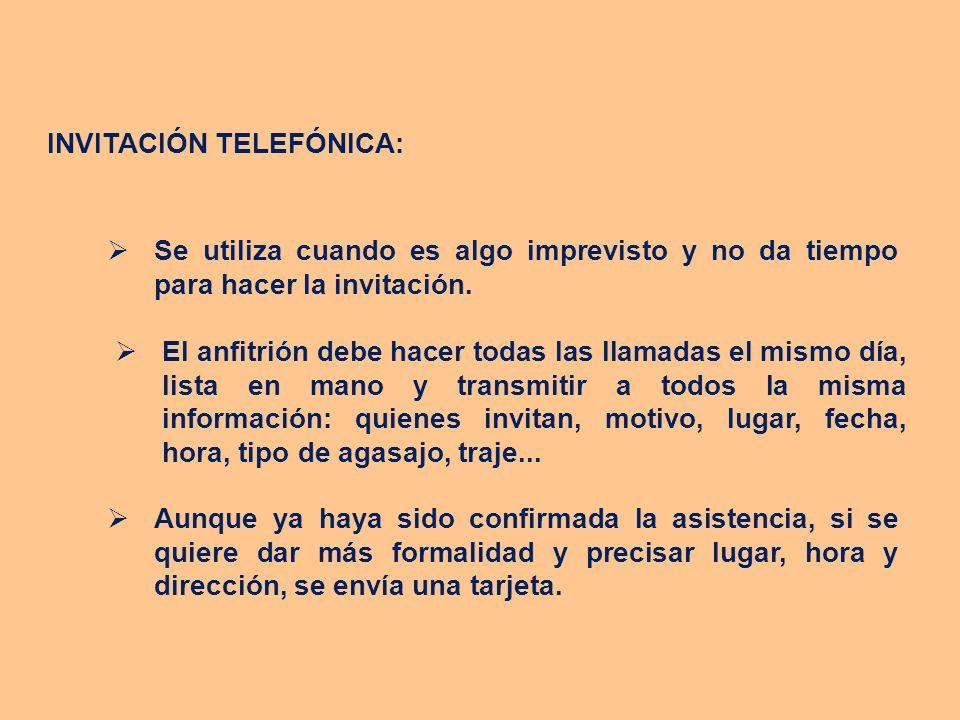 INVITACIÓN TELEFÓNICA: