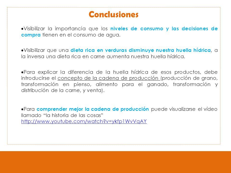 Conclusiones Visibilizar la importancia que los niveles de consumo y las decisiones de compra tienen en el consumo de agua.
