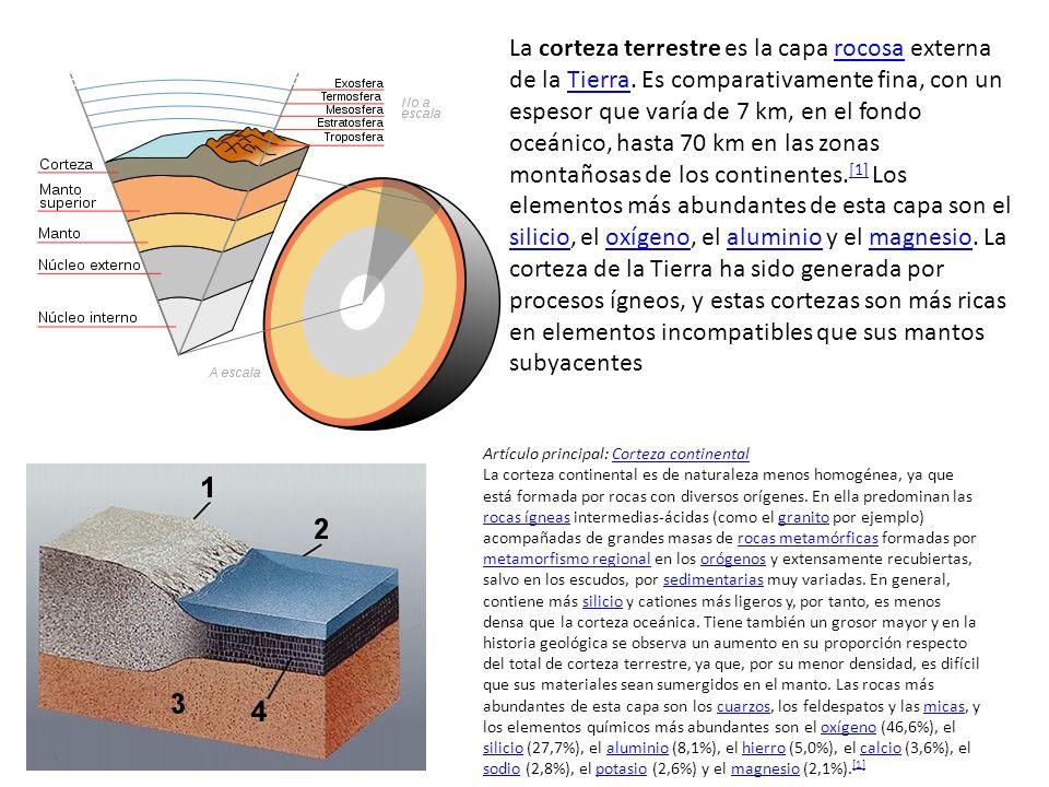 La corteza terrestre es la capa rocosa externa de la Tierra