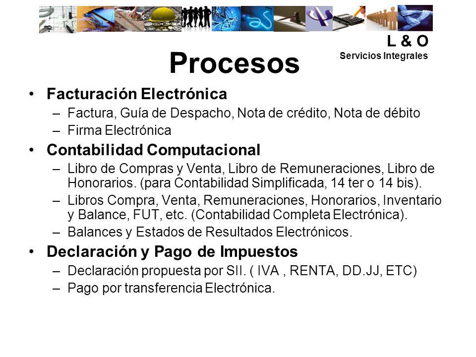 Procesos L & O Facturación Electrónica Contabilidad Computacional