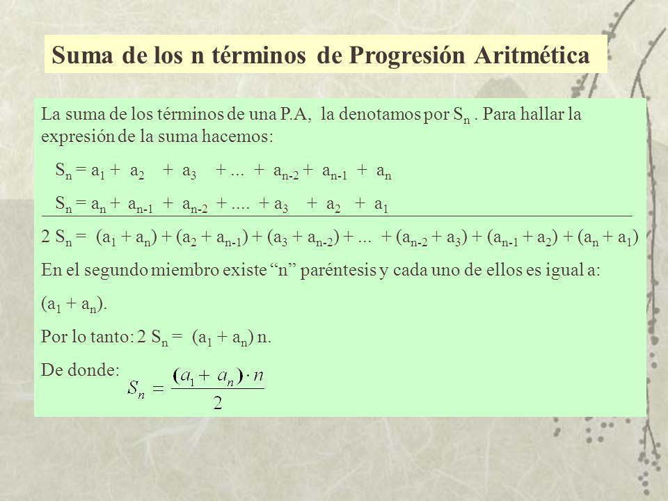 Suma de los n términos de Progresión Aritmética