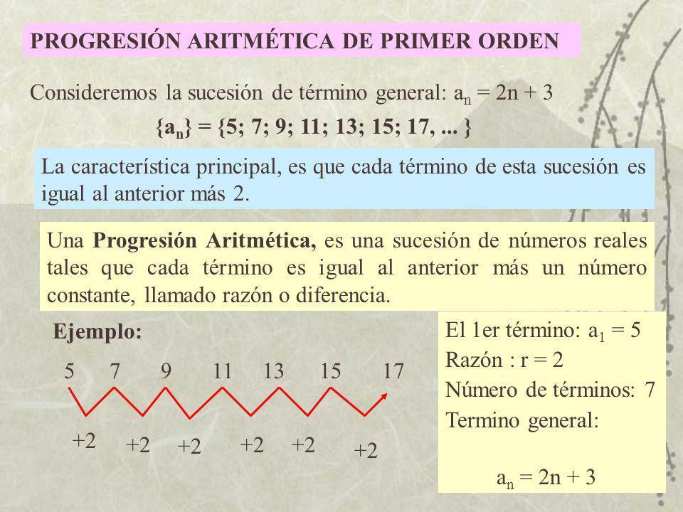 PROGRESIÓN ARITMÉTICA DE PRIMER ORDEN