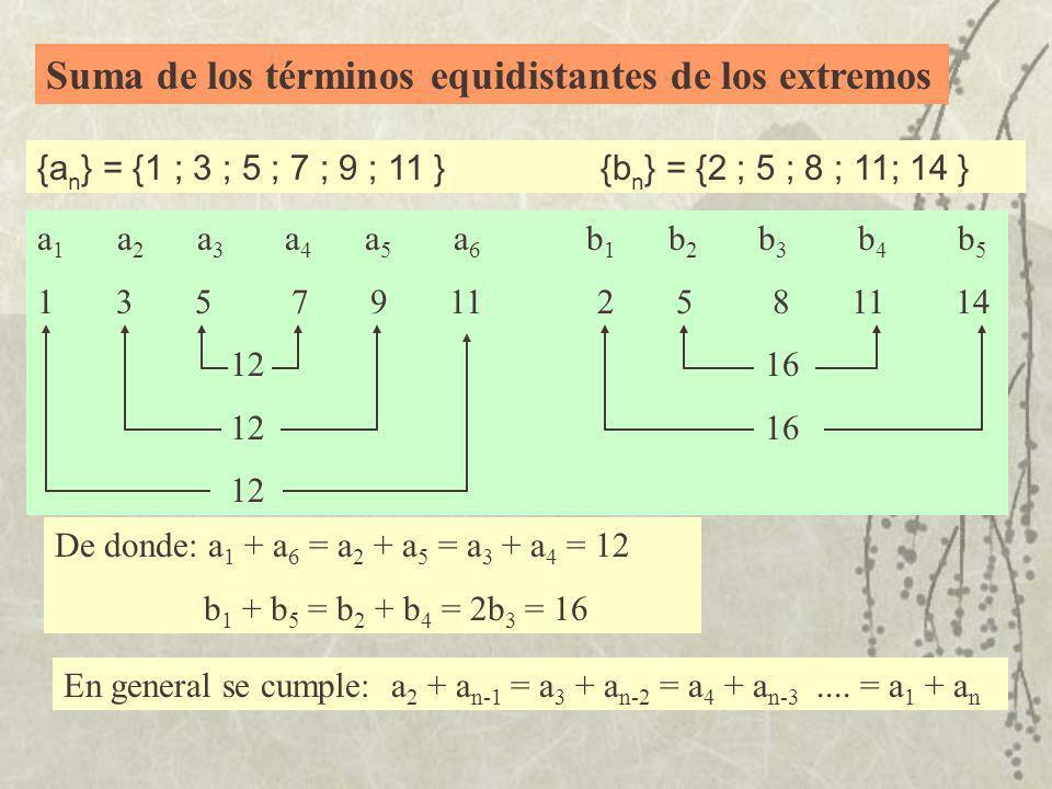 Suma de los términos equidistantes de los extremos