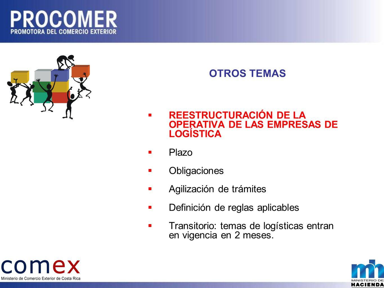 OTROS TEMAS REESTRUCTURACIÓN DE LA OPERATIVA DE LAS EMPRESAS DE LOGÍSTICA. Plazo. Obligaciones.