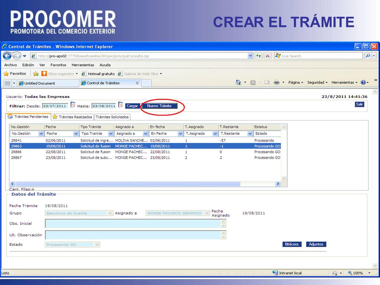 CREAR EL TRÁMITE