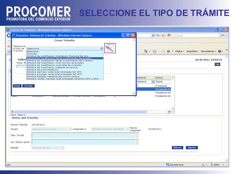 SELECCIONE EL TIPO DE TRÁMITE