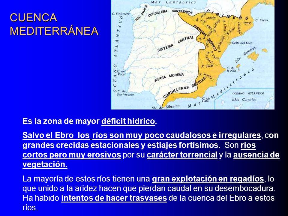 CUENCA MEDITERRÁNEA Es la zona de mayor déficit hídrico.