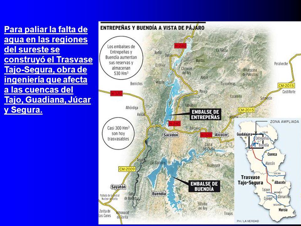 Para paliar la falta de agua en las regiones del sureste se construyó el Trasvase Tajo-Segura, obra de ingeniería que afecta a las cuencas del Tajo, Guadiana, Júcar y Segura.