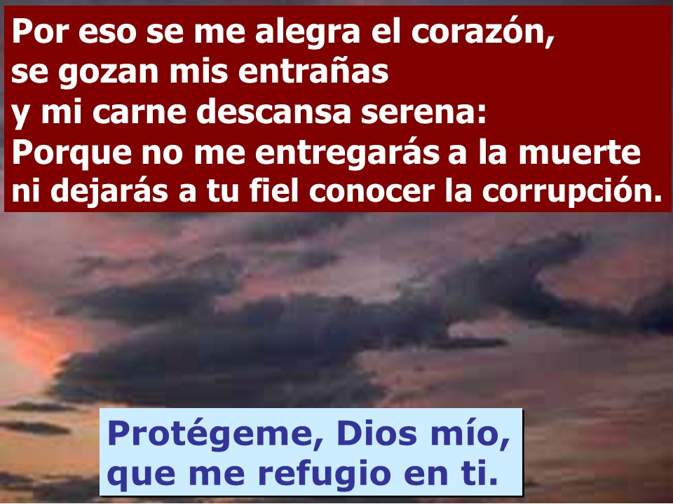 Protégeme, Dios mío, que me refugio en ti.