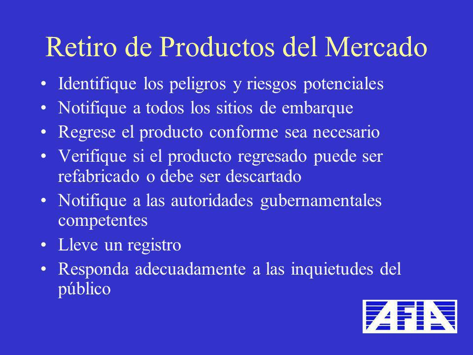 Retiro de Productos del Mercado
