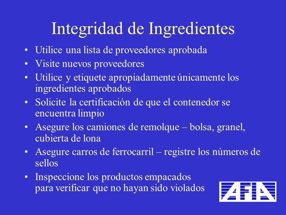Integridad de Ingredientes