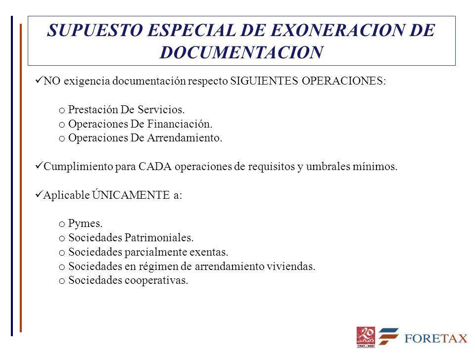 SUPUESTO ESPECIAL DE EXONERACION DE DOCUMENTACION