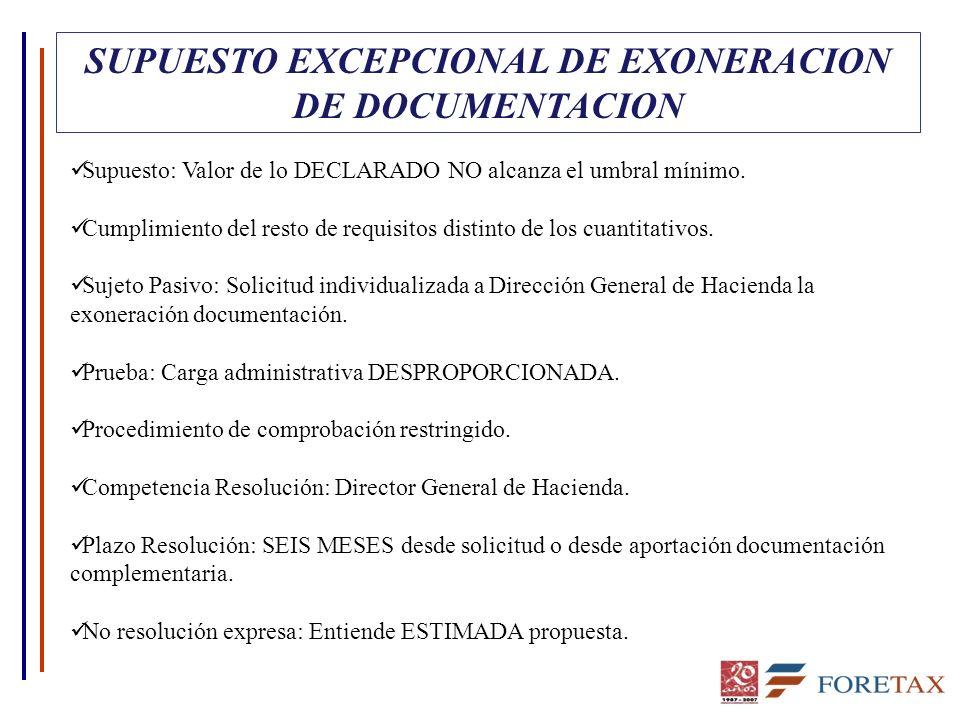 SUPUESTO EXCEPCIONAL DE EXONERACION DE DOCUMENTACION