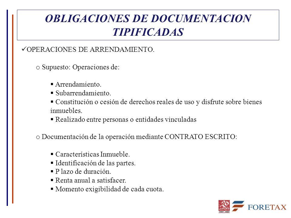 OBLIGACIONES DE DOCUMENTACION TIPIFICADAS