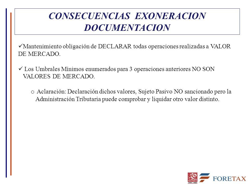 CONSECUENCIAS EXONERACION DOCUMENTACION