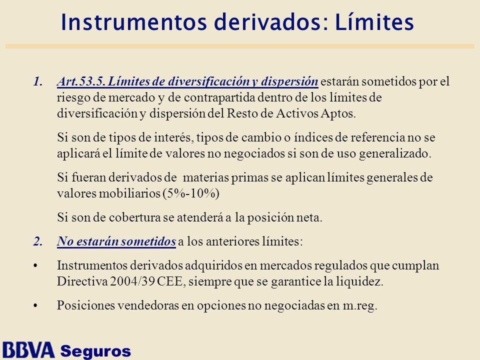 Instrumentos derivados: Límites