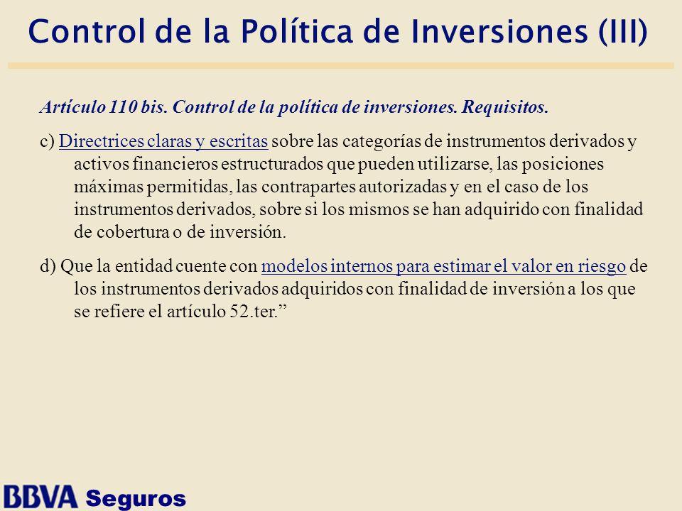 Control de la Política de Inversiones (III)