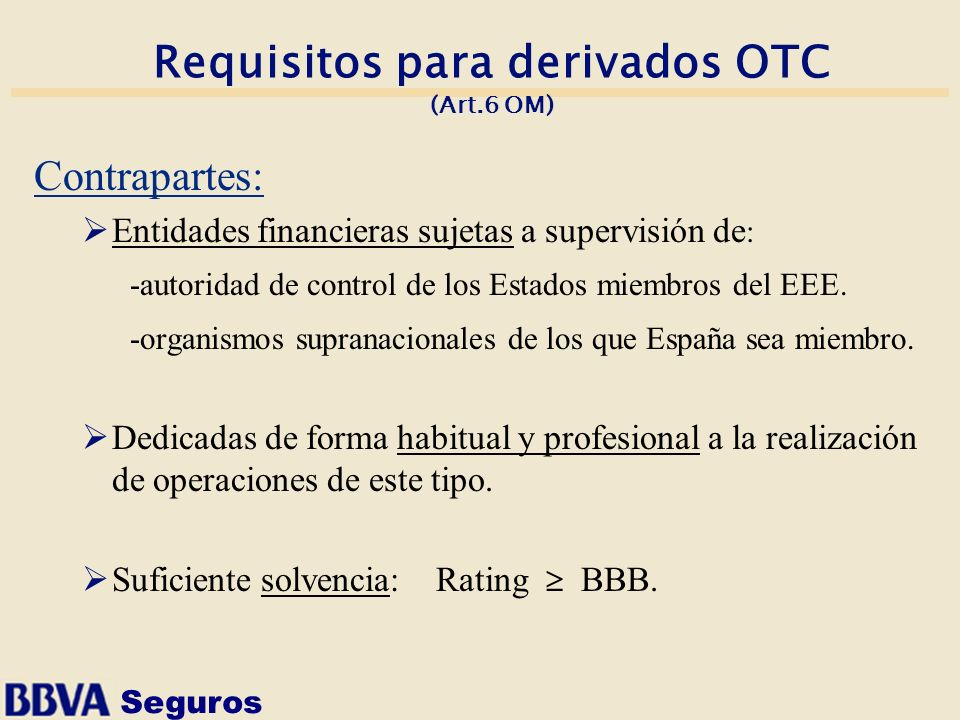 Requisitos para derivados OTC (Art.6 OM)